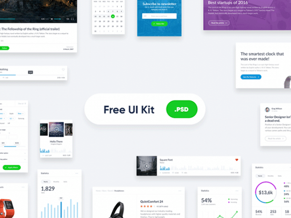 free basic widget style ui kit for websites designhooks