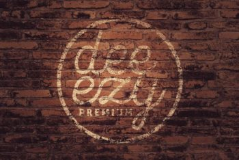 Brick Wall Logo Mockup Freebie in PSD