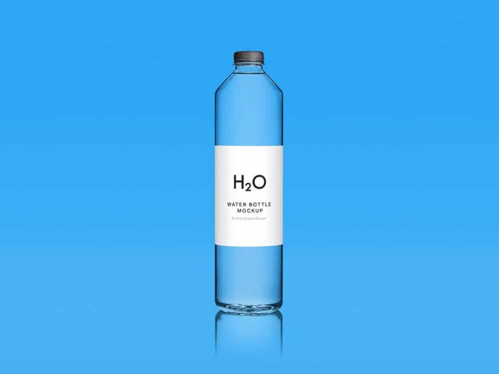 Blue Clean Water Bottle Free Mockup