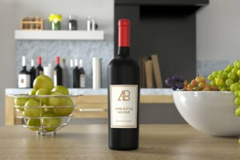 Free Wine Bottle on Kitchen Table Mockup