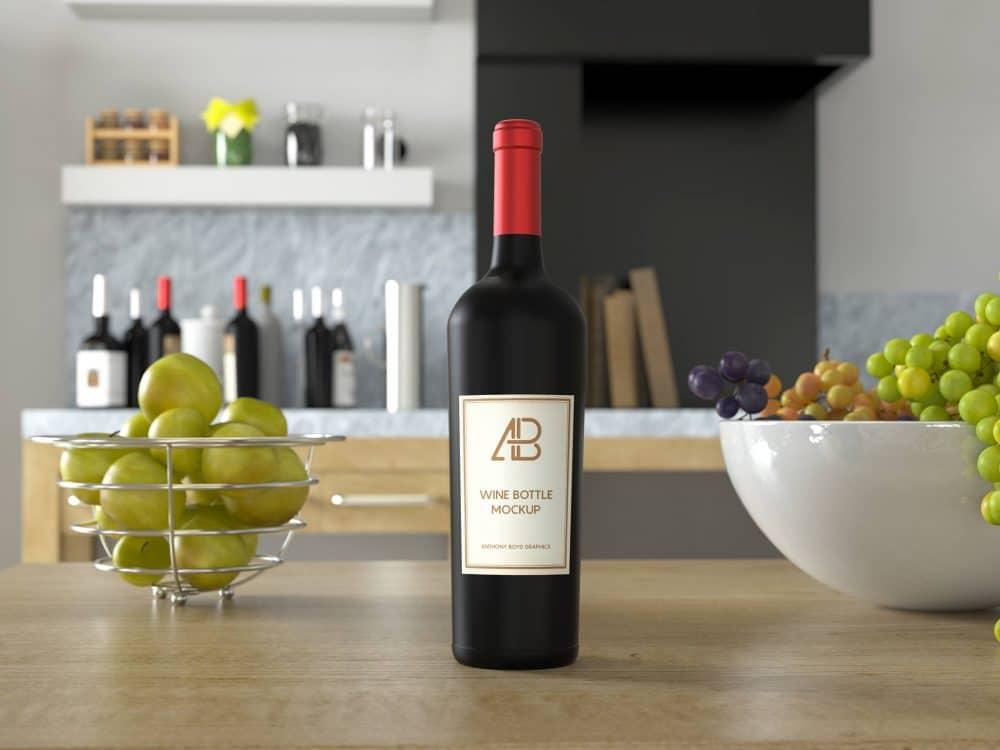 Wine Bottle on Kitchen Table