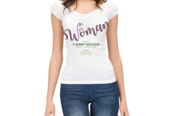 Woman Wearing White T-Shirt Free Mockup