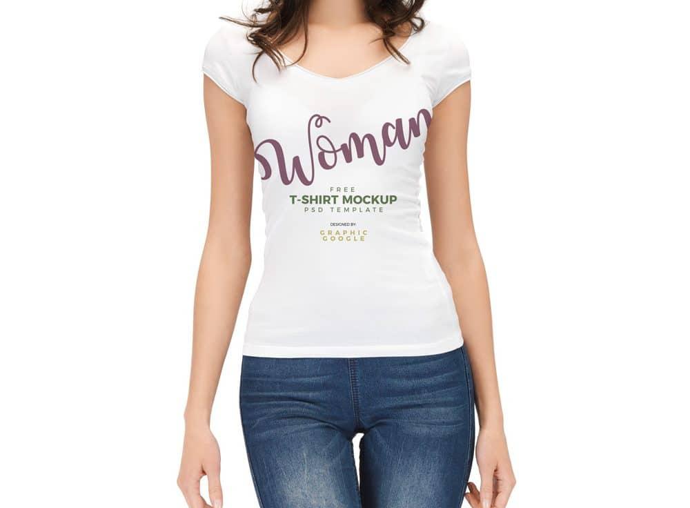 Woman Wearing White T-Shirt Free Mockup