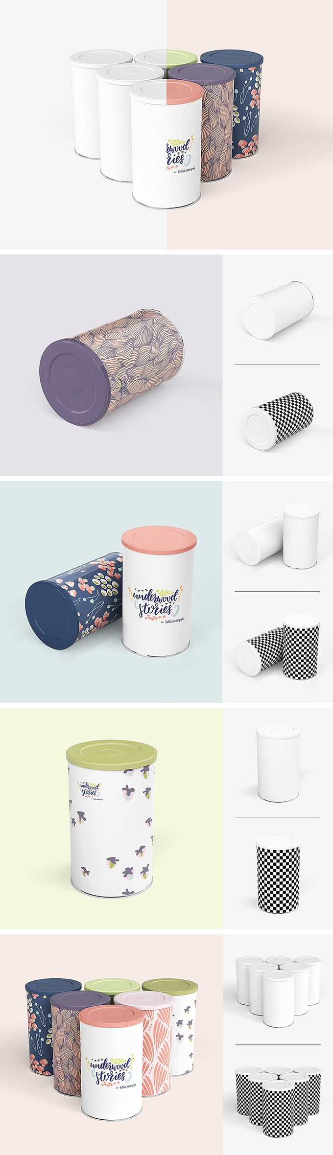 Round Tin Cans Mockup