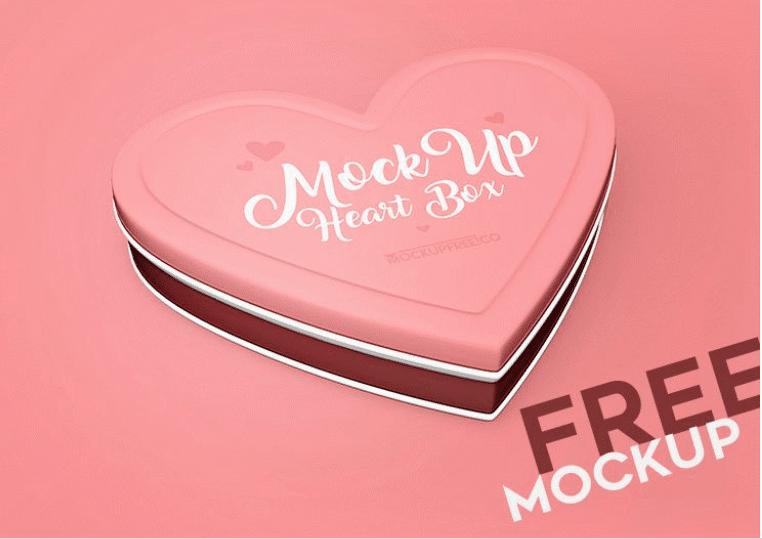 Heart Shaped Box PSD Mockup Design
