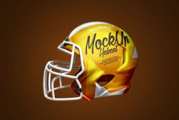 Football Helmet with 3 Free PSD Mockups