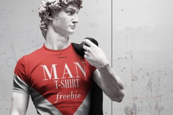 Michelangelo's David T-Shirt Mockup Freebie in PSD
