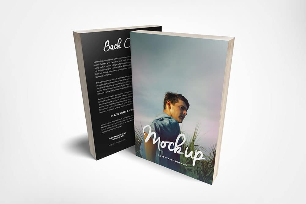 free paperback book mockup 6x9 front and back covers