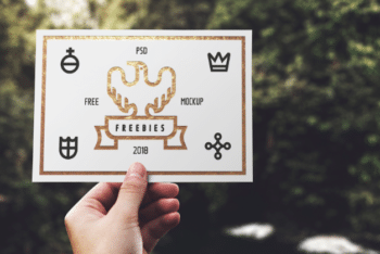 Hand Hold Blank Card PSD Mockup Download for Free