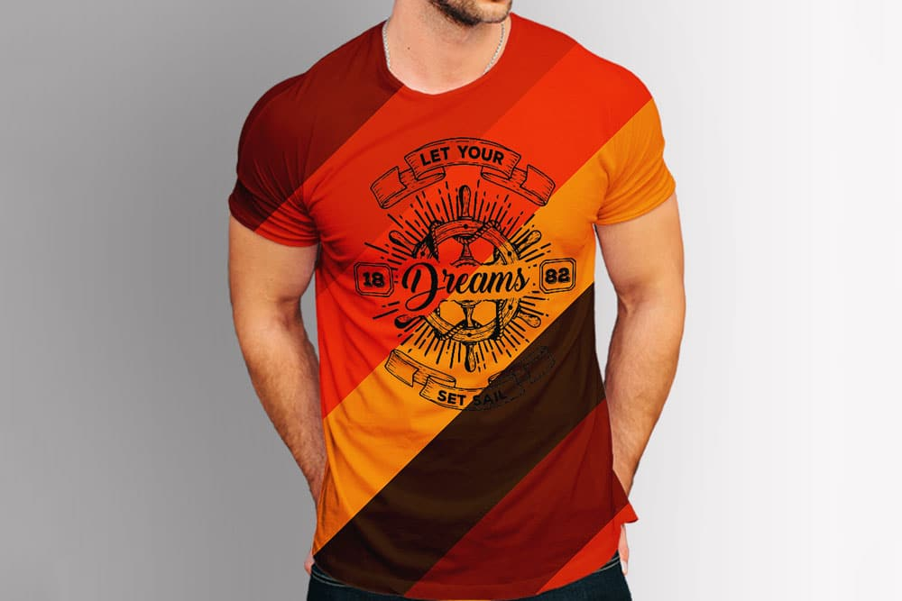 Round Neck Men Tshirt Mockup