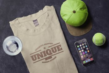 T-Shirt Plus iPhone Scene Mockup Freebie