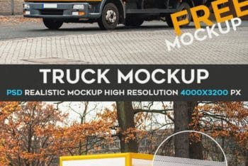 Truck PSD Mockup to Meet Your Branding Purposes
