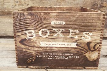 Free Set of Wooden Vintage Boxes Mockups