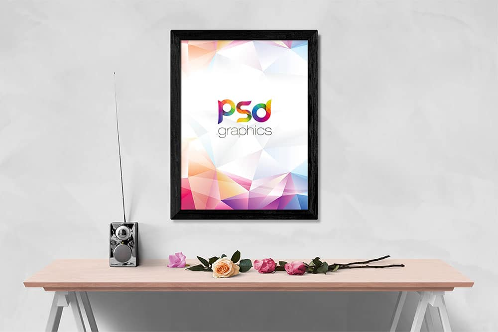 wall photo frame mockup