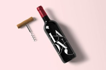 Wine Bottle Plus Corkscrew Mockup Freebie