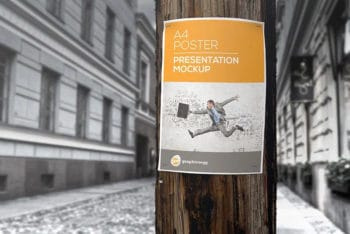 Utility Pole Note Mockup Freebie in PSD