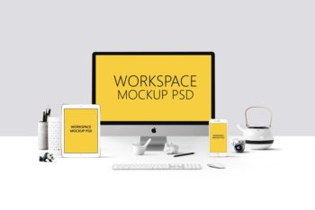 Workspace Plus Devices Mockup Freebie