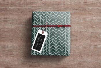 Free High-res Wrapped Gift Box Mockup