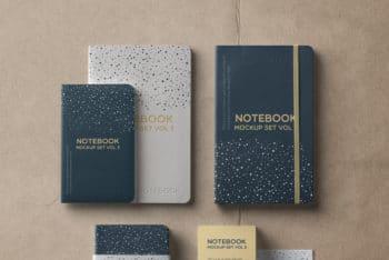 Complete Set of Notebook PSD Mockup
