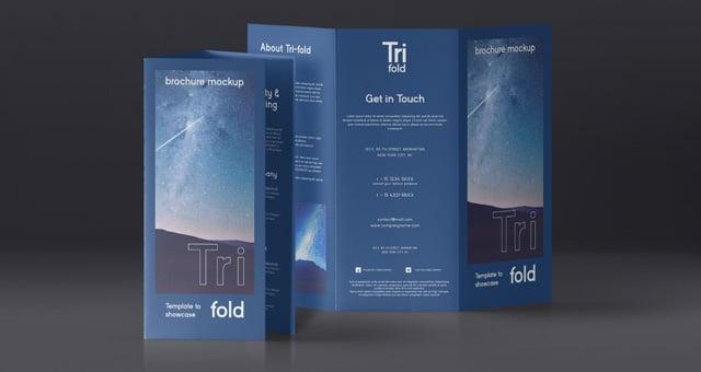 Tri Fold Brochure PSD Mockup Design