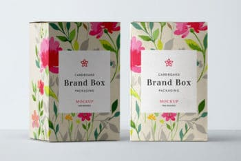 Colorful Cardboard Packaging Box PSD Mockup
