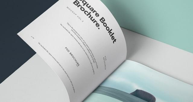 Square Shaped Booklet Brochure PSD Mockup Design