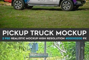Free Customizable Pickup Truck Mockup