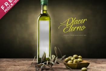 Customizable Olive Oil Bottle Mockup Freebie