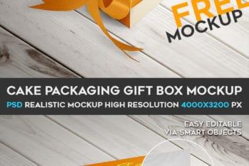 Free Cake Slice Packaging Gift Box Mockup