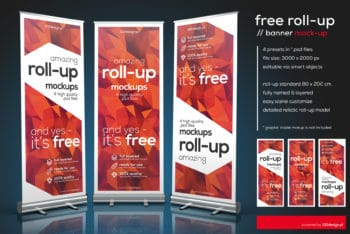 Free Customizable Roll-up Mockup in PSD