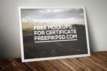 Free Framed Certificate Mockup in PSD