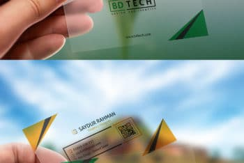 Free Transparent Plastic Business Card Mockup