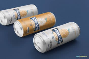 Soda Can PSD Mockup for Beverage Packaging Design