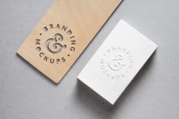 Cutout Wood Plus Embossed Card Mockup Freebie