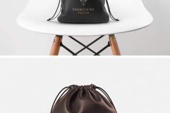 Leather Drawstring Pouch Mockup Freebie