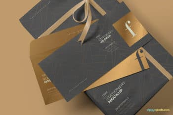 Free Customizable Luxurious Envelope Mockup