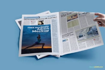 Free Newspaper Print Ad Mockup in PSD
