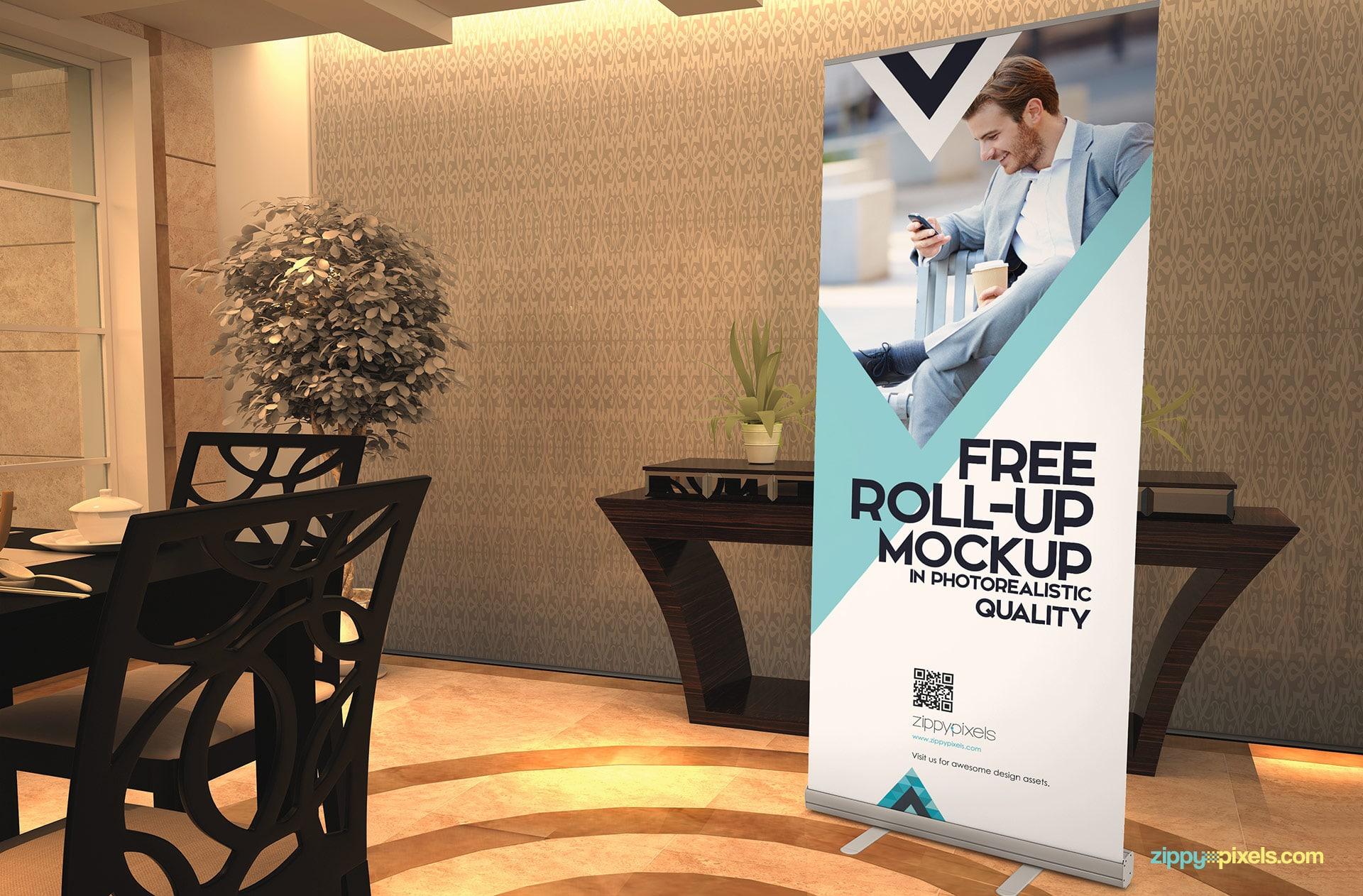 Roll Up Banner PSD Mockup Design
