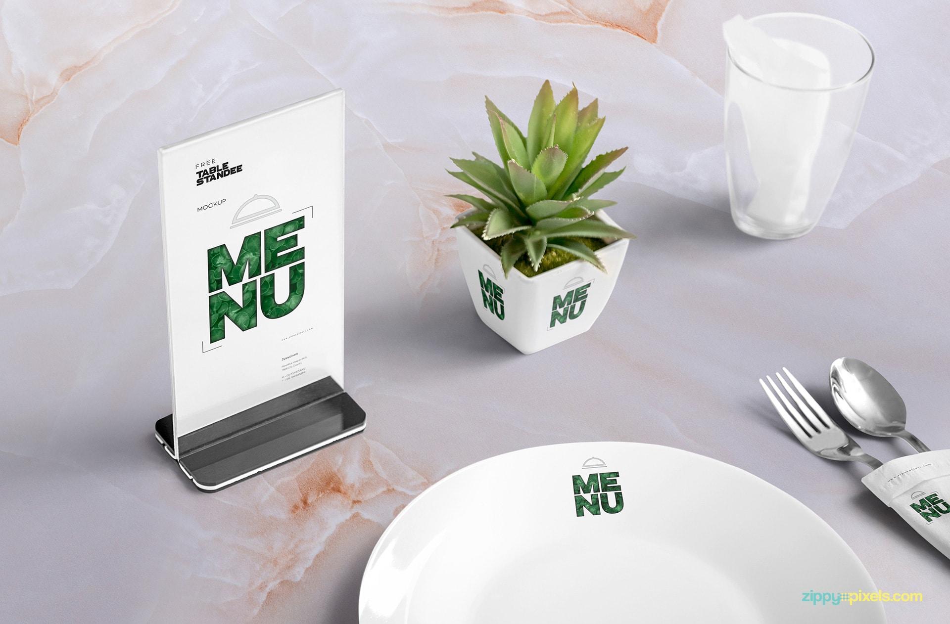 Table Menu PSD Mockup
