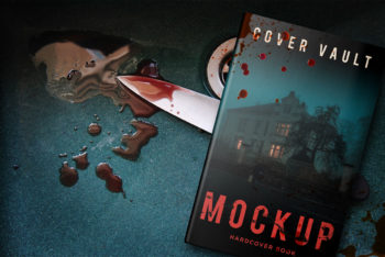 Hardback Cover PSD Mockup for Horror Themed Books