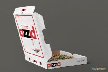 Customizable Open Pizza Box Mockup in PSD