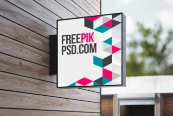 Photorealsitic Wall Hanging Signage PSD Mockup