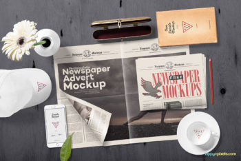 Free Realistic Newspaper Mockup in PSD