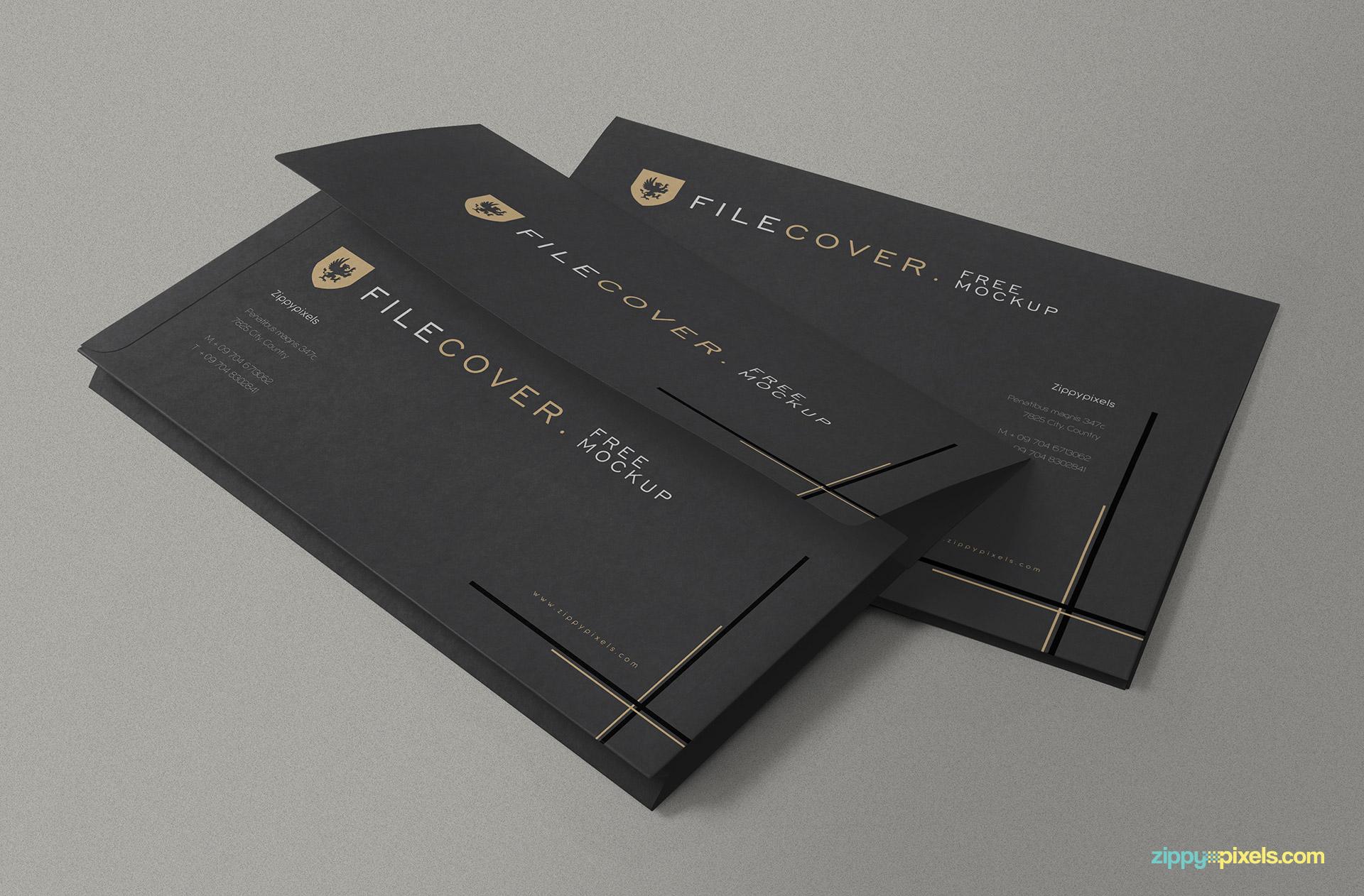 elegant pocket folder mockup in psd