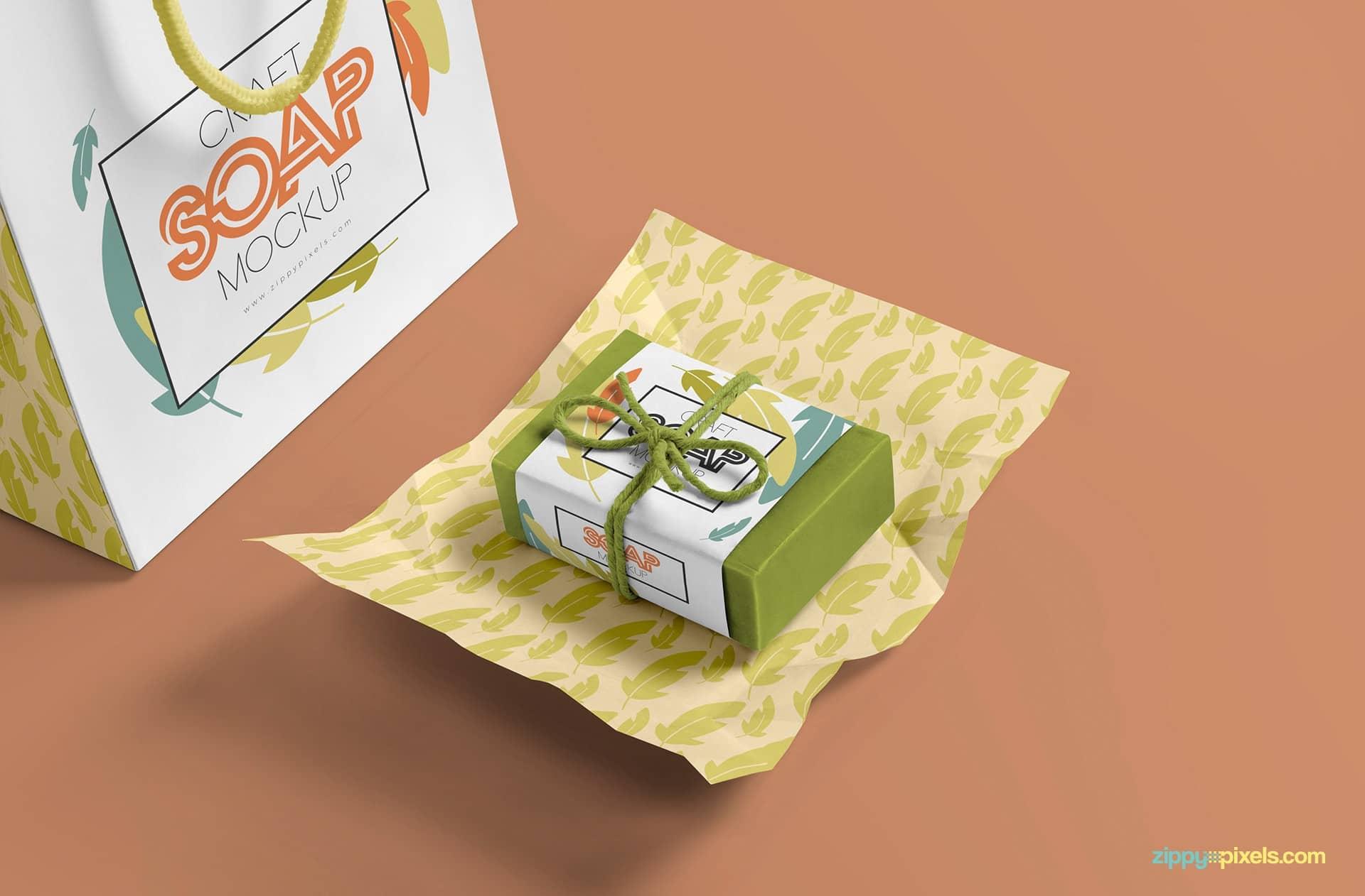soap bar with shopping bag psd mockup free download