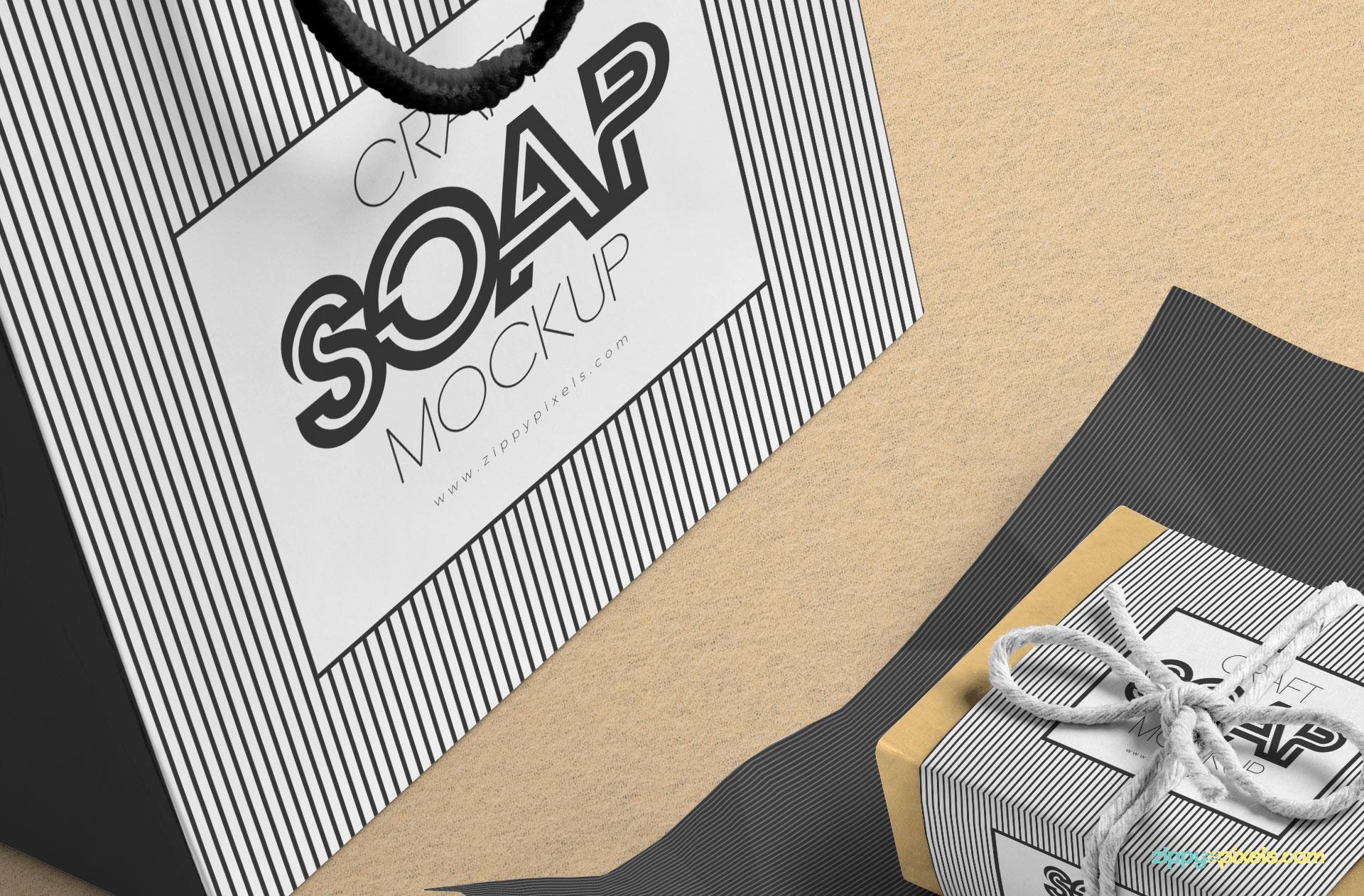 Soap Bar with Shopping Bag PSD Mockup Design