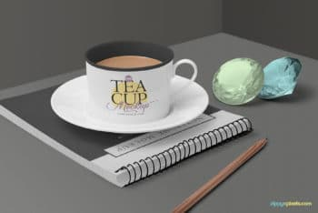 Tea Cup PSD Mockup Scene to Create Photo-realistic Presentation