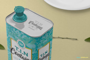 Useful Tin Container PSD Mockup
