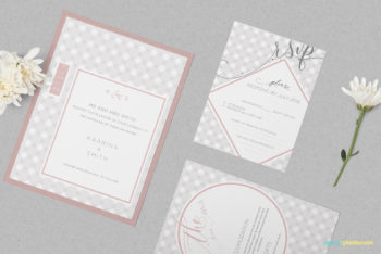 Graceful Wedding Invitation Card PSD Mockup