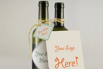 Wine Bottle Plus Greeting Card Mockup Freebie